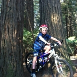 Conor mountain biking in Redwoods