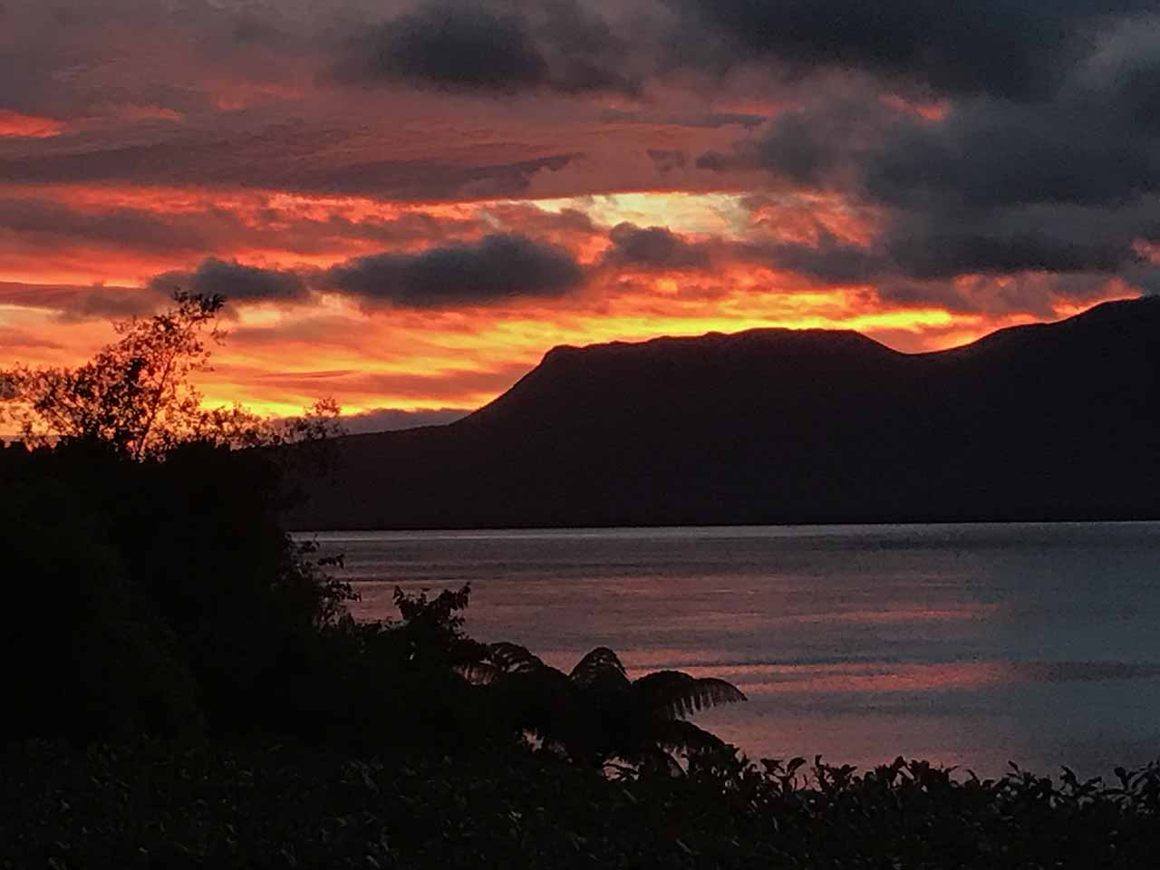Evening sky view of the tarawera lake nz